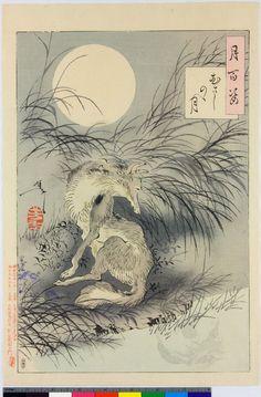 Yoshitoshi - Japanese Woodblock Print Musashi Plain Aspects of the Moon (Tsuki hyakushi) Japanese Fox, Japanese Prints, Ex Libris, Animal Flow, Fox Art, Japan Art, Rice Paper, Woodblock Print, British Museum