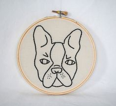 Boston Terrier Embroidery Hoop. Hand Made Embroidered Wall Art.
