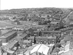 Black and white aerial photograph showing the exterior of St Mary and St Thomas' School, Barton Street, St.Helens MCL - Clare Collection 4 - Black and white photographs taken from Beecham's Tower, St. Saint Helens, St Thomas, Back In The Day, Old Pictures, Paris Skyline, Tower, Exterior, Photographs, Photos