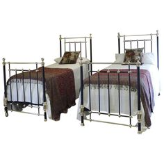 Stunning Matching Pair or Twin Brass and Iron Beds - 1 Vintage Furniture For Sale, Furniture Sale, Modern Furniture, Modern Beds, Iron Twin Bed, Bunk Beds, Twin Beds, One Bed, Mattress