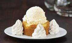 California Pizza Kitchen's Butter Cake. Served warm with fresh whipped cream. Simply amazing.
