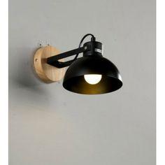 Fekete búrás fali fém lámpa fa betéttel