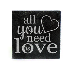 Black Granite Coasters (set of 4) - All you need is love