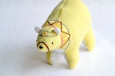 big yellow spirit bear - felt plush artist bear. $74,00, via Etsy.