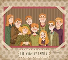The Weasley Family Harry Potter Anime, Harry Potter Fan Art, Hery Potter, Mundo Harry Potter, Harry Potter Drawings, Harry Potter Pictures, Harry Potter Books, Harry Potter Universal, Harry Potter Characters