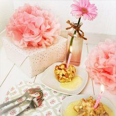 Vegetarisches Dessert: Apfeltoas-Muffins mit Vanillesauce