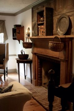Olde Bittersweet Farm (old cottage fireplace) Primitive Fireplace, Primitive Living Room, Primitive Homes, Primitive Furniture, Primitive Antiques, Country Furniture, Fireplace Mantle, Country Primitive, Primitive Decor