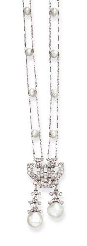 AN ART DECO BAROQUE PEARL AND DIAMOND PENDANT NECKLACE, BY MAUBOUSSIN  Centering upon a single and rose-cut diamond openwork plaque of geometric design, suspending two barogue pearl drops, from single and rose-cut diamond foliate tops, from a twin-set fancy link chain, spaced by baroque pearls, mounted in platinum, circa 1920, 25 ins., with French assay marks Signed Mauboussin, France, no. 326  The pearls have not been tested for natural origin