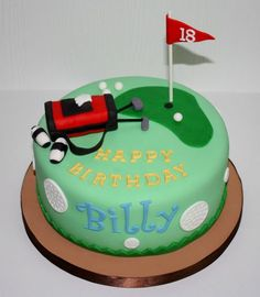 This cake was strawberry with buttercream filling. Golf bag was rice crispy treats covered in fondant. I'm totally not good at making . Golf Birthday Cakes, Golf Cakes, 40th Birthday, Fondant Cakes, Cupcake Cakes, Cupcakes, Sport Cakes, Buttercream Filling, Cake Board