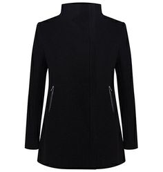"""Great structure and angles. Felted Wool Funnel Neck Coat in Black. Also available in Dark Charcoal Marle and Indigo 