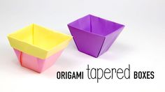 Learn how to make 2 different types of Tapered Origami Boxes! The 1st is plain on the inside & outside, the 2nd looks more like a plant or flower pot, with t...