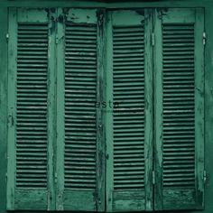 papier peint intissé Haute Définition persiennes altérées en bois rétro vintage vert émeraude intense
