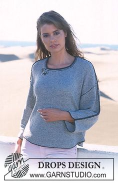 Loosely fitted knitted DROPS jumper with ¾ length sleeves in Silke-Tweed, with edges in Cotton Viscose