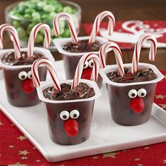 Fun holiday recipe idea adds crushed chocolate peppermint cookies to chocolate pudding, finished with candy canes for the 'antlers'