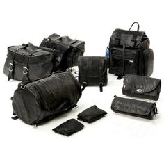 Leather 9pc Motorcycle Luggage Set by the Famous Hawg Hides, Free Shipping-