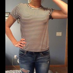 American Eagle Small Top Aerie for American Eagle brand striped navy and white short sleeve shirt. Worn twice and in great condition. aerie Tops Tees - Short Sleeve