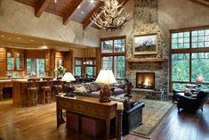Timber frame great room and kitchen