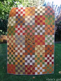 elsie's girl: Fall Back scrap quilt finish.  St Louis 16 patch