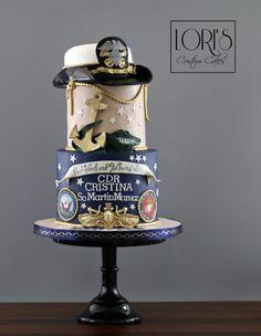 Military retirement cake – cake by Lori Mahoney (Lori's Custom Cakes) - 10 Military Wedding Cakes, Military Cake, Cupcake Party, Cupcake Cakes, Cupcake Toppers, Cupcakes, Retirement Party Cakes, Military Retirement, Cakes For Women