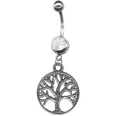 Medallion Tree of Life Belly Ring- Tree Belly Button Ring- 14g Navel Ring Body Jewelry at BodySparkle.com