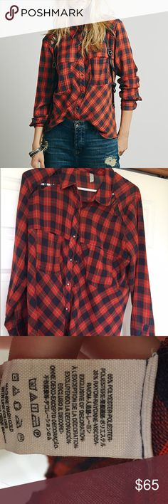 Free People Flannel Red flannel with cutout detail. I do not trade. Free People Tops Button Down Shirts