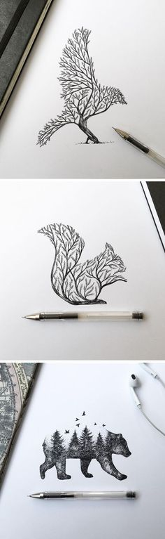 Dibujos Más illustration Pen & Ink Depictions of Trees Sprouting into Animals by Alfred Basha Easy Pencil Drawings, Easy Animal Drawings, Pencil Art, Cool Drawings, Disney Drawings, Drawing Animals, Amazing Drawings, Beautiful Drawings, Drawing Sketches