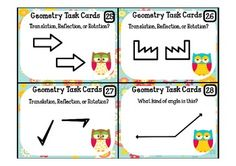 32 Geometry Task Cards with Recording sheet **OWL THEMED $3.00