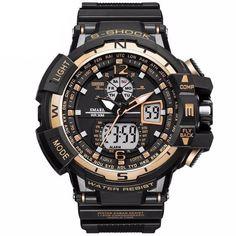 Men's Sports Military Style Luxury Analog Electronic Quartz Digital Dual Display Watches