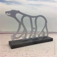 Polar Bear sculpture: aluminum with maple base. Artist: Shirley Lloyd-Davies/Dundee Designs Inc. Dundee, Customizable Gifts, Polar Bear, Sculptures, Base, Artist, Design, Artists