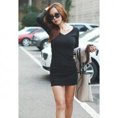 $6.62 Sexy V-Neck Slimming Fitted Long Sleeves Cotton Blend Black Dress For Women