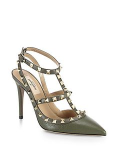 Valentino Rockstud Leather Slingback Pumps in Nude