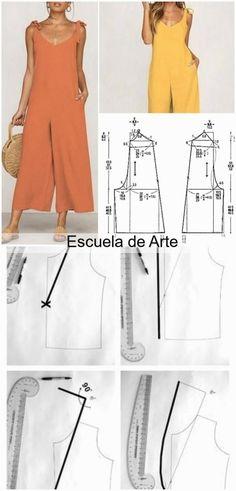 Sewing Paterns, Dress Sewing Patterns, Clothing Patterns, Fashion Sewing, Diy Fashion, Ideias Fashion, Diy Clothes Design, Vintage Dress Patterns, Jumpsuit Pattern