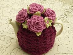Tea Cosy  Tea Cozy Teacosy Teacozy Cosy Cozy Crochet Plum with Roses (Made to order)