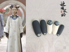 This salon has designed 11 nail looks inspired by the Yanxi Palace drama, and we are in love! Nails Now, New Year's Nails, Black Nail Art, Black Nails, Cute Nails, Pretty Nails, New Years Nail Art, Korean Nails, Vintage Nails