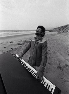 Photo of Herbie HANCOCK; Posed portrait of Herbie Hancock, playing keyboards on the beach Music Icon, My Music, Acid Jazz, Herbie Hancock, Music Photographer, Piano Man, Jazz Musicians, Jazz Artists, All That Jazz