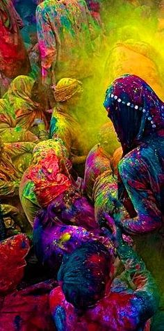 """Incredible photography by Poras Chaudhary of """"Holi,"""" the Hindu festival known as the Celebration of Colors."""