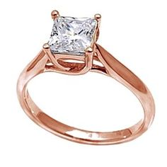 1.25 Ct Princess D/VVS1 Prong-Set Solitaire Engagement Ring In 14K Rose Gold # With Free Stud Earring by JewelryHub on Opensky