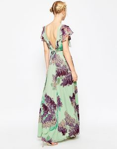 Image 2 of ASOS TALL Frill Tea Maxi Dress in Floral Print