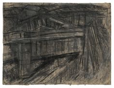 Leon Kossoff Railway Bridge Mornington Crescent, 1952 charcoal and pastel on paper 21 3/4 x 28 3/4 in. (55.2 x 73 cm)