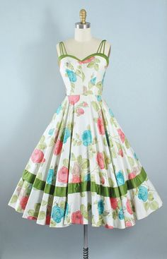 Vintage 50s ROSE Print Dress / 1950s Cotton Sundress McKay of Miami