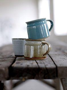 "Bloomingville glazed pottery mugs - last pinner said, ""Nice shape; makes me think of camping mugs"". It's true, they do look like little enamel ware cups! Glazes For Pottery, Pottery Mugs, Ceramic Pottery, Glazed Pottery, Thrown Pottery, Slab Pottery, Ceramic Cups, Ceramic Art, Stoneware Mugs"
