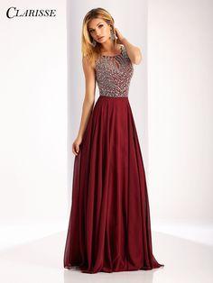 Clarisse Prom 3167 Marsala High Neckline Prom Dress