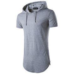 Moda para hombre de verano de largo estilo con cordón de cremallera lado de cremallera de color sólido camiseta de manga corta