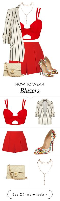 """Untitled #1880"" by iammelissa on Polyvore featuring Alice + Olivia, Christian Louboutin, Chanel and River Island"