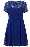 Dorothy Perkins Womens Izabel London Cobalt Lace Skater Dress- Blue on shopstyle.co.uk