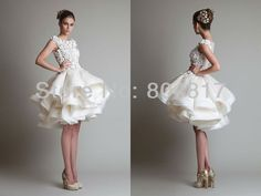 New Arrival EA0003 Excellent Lace Multi Layer Puffy Skirt Short Wedding Dress-in Wedding Dresses from Apparel & Accessories on Aliexpress.com