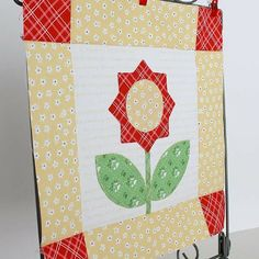 Bloom Sew Along Block 4 featuring Lori Holt's Calico Days fabric collection #iloverileyblake #abrightcorner