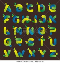 Ecology alphabet with green leaves. Font style, vector design template elements for your eco application or corporate identity.