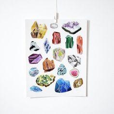 Katie Vernon Gemstones Print #print #illustration #minerals #gemstones #gems #walls #decor #geo #vintage #geology #rocks #office #studio #apartment #retro #nature #minimal