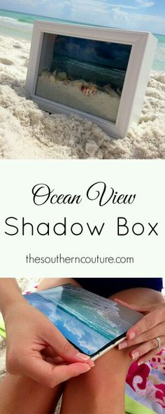 Beach decor - shadow box with picture sand and shells. Save a memory.